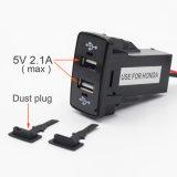 Удваивает Port заряжатель автомобиля USB 2 для Хонда, конвертера инвертора силы автомобиля DC-DC 5V 2.1A, может поручить iPhone, чернь & пусковую площадку