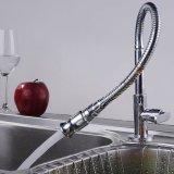 Le robinet de bassin de cuisine d'acier inoxydable abaissent le taraud tournant arbitraire de robinet de toilettes de barre humide de traitement simple avec le col de cygne flexible (le fini de chrome)