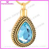 le collier pendant de l'eau de l'acier inoxydable 316L de baisse de bijou en cristal d'incinération choie le bijou de souvenir (IJD9314)