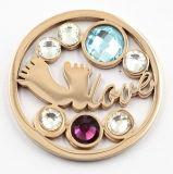 Form-Rosen-Goldmünze mit buntem Kristall