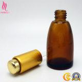 Botella de petróleo esencial del vidrio con el casquillo de cristal de aluminio del cuentagotas del pulsador