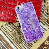 tipo líquido caja del corazón del brillo de la arena de 3D TPU del teléfono de la arena movediza del caso para el caso de la cubierta del teléfono móvil 6 del iPhone 5