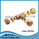 Guarnición de cobre amarillo de la compresión para el tubo de Pex (F03-101)