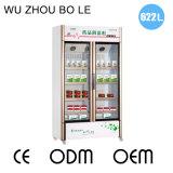 Refrigerador de vidro refrigerando do armazenamento da medicina da porta do revestimento do ventilador com rodízios universais