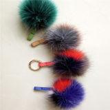 文字との袋の装飾の毛皮POM POMのための毛皮のキーホルダーの偽造品の毛皮の球をカスタマイズしなさい