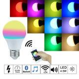 Fonction d'encadrement musicale de voix 2.4G 7.5W E27 RGBW Bluetooth DEL d'ampoule de MI d'éclairage LED à télécommande sans fil léger de Smartphone $$etAPP