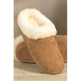 暖かい屋内柔らかい羊皮の毛皮カラー女性のスリッパ