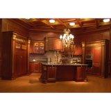 Het bruine Houten Meubilair van de Keuken van de Korrel Stevige met het Kabinet van de Basis van de Muur