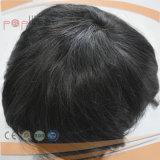 100% Cabelo curto humano Base de renda completa PU Edge Lace Front Mens Toupee (PPG-l-0894)