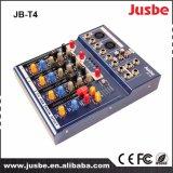Jusbe Jb-T4 4チャネルUSBエムピー・スリー音楽DJの演劇の安い価格の専門の可聴周波混合コンソールミキサー