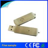 Memoria Flash all'ingrosso del USB di rotazione del metallo dell'argento di rettangolo