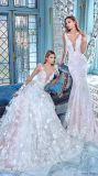 Sereia branca elegante da alta qualidade fora da parte traseira da tecla do ombro toda sobre os testes padrões nupciais do vestido do desenhador do laço (MN1267)