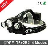 Les modes du phare 4 du CREE T6+2r2 DEL de type les plus neufs 90 degrés de réglables pour la tête