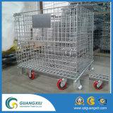 Métal de mémoire d'entrepôt se pliant empilant des cages de treillis métallique avec des roues