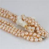 Collar de plata de la perla de la venta 925 calientes del color del melocotón de Snh para las mujeres