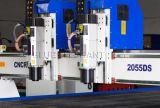 2055 3D отделяют машину CNC головок деревянную высекая, машину маршрутизатора CNC 3 осей деревянную для делать мебели