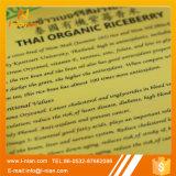 Escritura de la etiqueta clara auta-adhesivo del conjunto del arroz del alimento