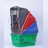 El metal doble al por mayor 2016 maneja las cestas plásticas del supermercado para la alameda de compras