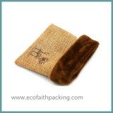 Естественный мешок ювелирных изделий мешковины джута цвета с бархатом внутрь