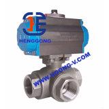 Robinet à tournant sphérique à trois voies pneumatique d'acier inoxydable d'API/DIN/JIS