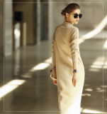 Vestido da caxemira das mulheres com garganta redonda (13brdw052)