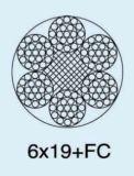 Corda de fio de aço galvanizada 6X19+FC