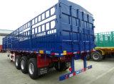 側面柵が付いている中国のブランドの3車軸平面トレーラー