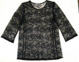 Vêtements de mode Vêtements d'été à manches longues Nylon Lace Sexy Lady T-Shirt