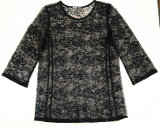 Form-reizvolle Spitze-loses Hülsen-Blusen-Frauen-T-Shirt
