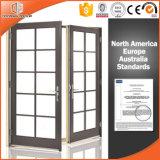Porte articulée en aluminium en bois solide de Clading de type de l'Amérique, portes coulissantes horizontales en aluminium parfaites pour la villa et balcon
