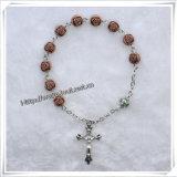 Rose pulseras del rosario de perlas de resina / Religión pulsera Rosario (IO-CB120)