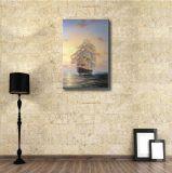 Картина искусствоа шлюпки Saling в заходе солнца