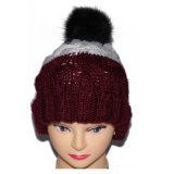 ハンドメイドの多彩なジャカードウールの冬の羊毛POM POMの帽子の帽子