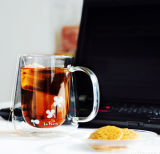 copo do vidro do copo do leite da parede do dobro do vidro de Borosilicate 380ml