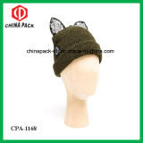 Beanie Hat с Cat Ears Embroidered Logo Black Lace (CPA-1168)