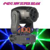 최신 판매 LED 4PCS*30W 4in1 RGBW 최고 이동하는 맨 위 광속 빛
