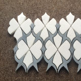 Azulejo Waterjet blanco de Thassos del estilo especial, azulejo de mosaico