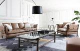Sofá moderno del cuero de la sala de estar de los muebles populares en sofá