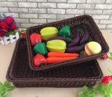 Cesta material por atacado do Rattan dos PP Inmitation, cesta do armazenamento para frutas e verdura