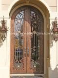 Porta de aço exterior com vidro Tempered e travessão