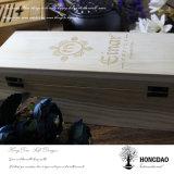 Caixa da madeira de pinho de Hongdao com logotipo gravado costume