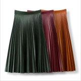 PU material plisado de alta cintura bodycon falda larga de moda