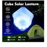 Lanterne solaire de cube gonflable en 10 DEL avec l'indicateur de pouvoir de la hausse campante