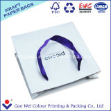 Sac à provisions blanc de papier d'emballage de qualité faite sur commande avec l'impression de logo