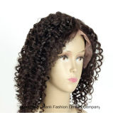 """Do laço reto do cabelo humano de Yaki perucas frontais 20 """" #1b India"""