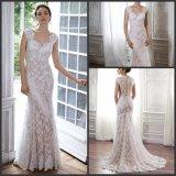 Champagne que alinha o tampão dos vestidos nupciais Sleeves o vestido de casamento S201797 do laço