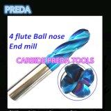 Fraises en bout supplémentaires de nez de boule de cannelures de la longueur 4