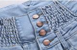 方法4ボタンの高いウエストの鉛筆のデニムの女性のジーンズ