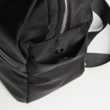 Leather Handle Black Nylon Leisure Backpack (15A051)