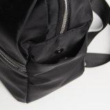 Sac à dos noir en nylon de loisirs de traitement en cuir (15A051)